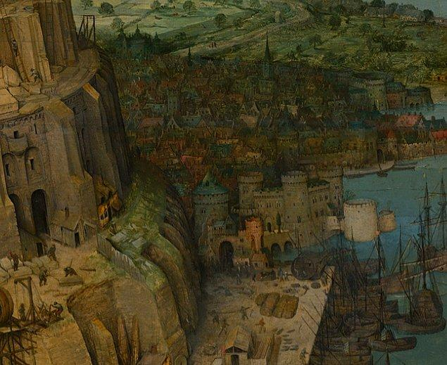 Tablonun sağ tarafında gözümüze çarpan Flaman tarzdaki liman kenti ise kulenin gölgesi altında kalmış, binaların boyutları da kulenin ne kadar devasa olduğunu kanıtlıyor.