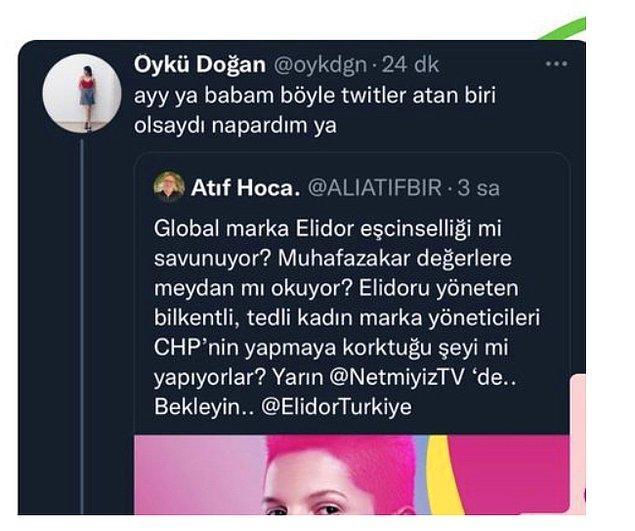 Bununla da yetinmeyen Ali Atıf Bir, kendisini oldukça makul bir üslupla eleştiren blog yazarı Öykün Doğan'a da bakın nasıl tepki verdi?