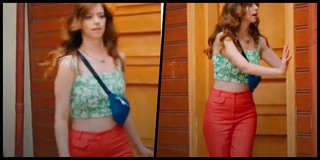 6. Elif'in turuncu pantolon üzeri crobu cıvıl cıvıl bir görünüm olmuş.