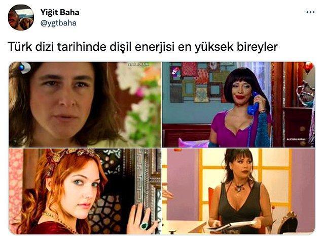 Twitter'da @ygtbaha adlı bir kullanıcı 'Türk dizi tarihinde dişil enerjisi en yüksek bireyler' açıklamalı bu tweeti paylaşınca pek çok Twitter kullanıcısı listede eksik kalan unutulmaz kadın karakterleri paylaşmaya başladılar.