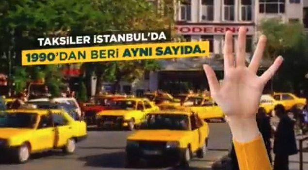 Videoda taksilerin İstanbul'da 1990 yılından bu yana aynı sayıda olduğu ve bundan dolayı da aslında İstanbulluların taksi problemi yaşadığından bahsediliyor.