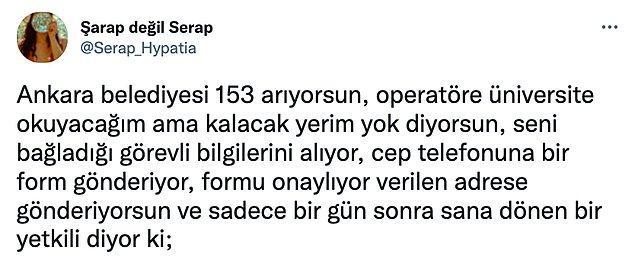 Twitter'da ise @Serap_Hypatia adlı bir kullanıcı Ankara'da durumun nasıl olduğunu anlatan bir tweet dizisi yazdı: