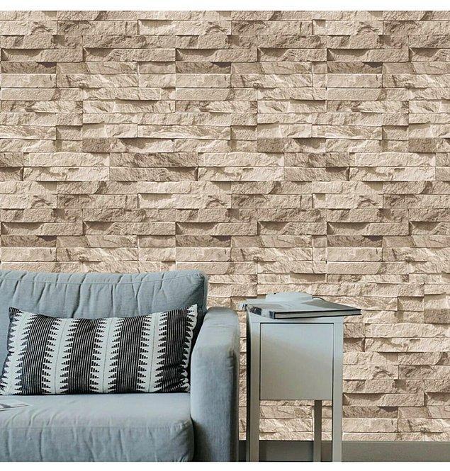 3. İster salonunuza ister mutfağınıza kolayca uygulayabileceğiniz taş görünümlü duvar kağıtları evinizin havasını anında değiştirecek!