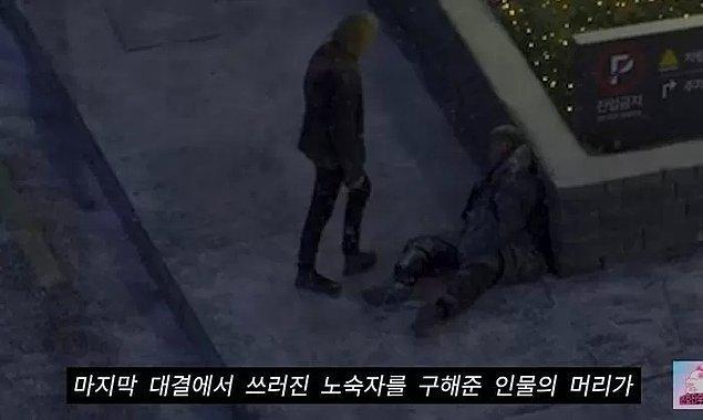 14. Son bölümde evsiz adamın donduğu otelin önü, ilk bölümde esas oğlanımız Gi-Hun'un minibüsle alındığı yer.