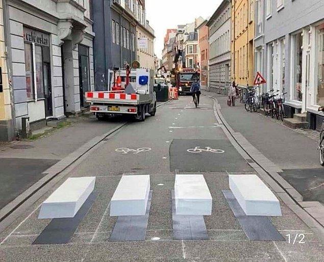 12. Danimarka'da 3 boyutlu tasarlanan bir yaya geçidi: