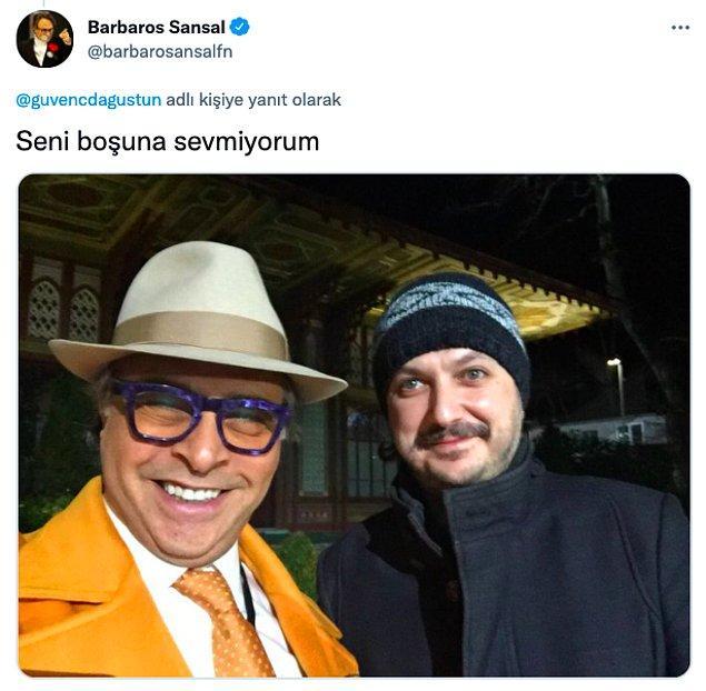 Barbaros Şansal da yaptığı paylaşımla Dağüstün'e destek veren isimlerden biri oldu.