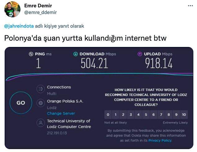 1. Hal böyle olunca birçok öğrenci yaşadığı ülkelerden, şehirlerden eriştikleri internetin hızını atmaya başladı: