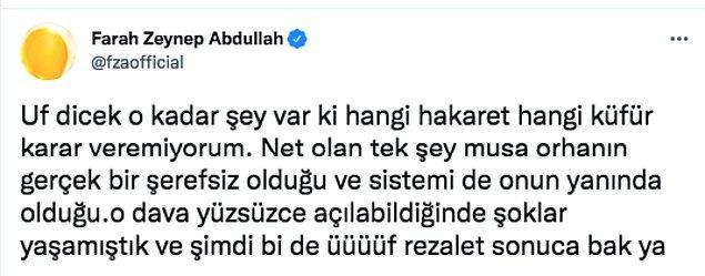 Farah Twitter hesabından şu cümlelerle arkadaşına destek oldu: