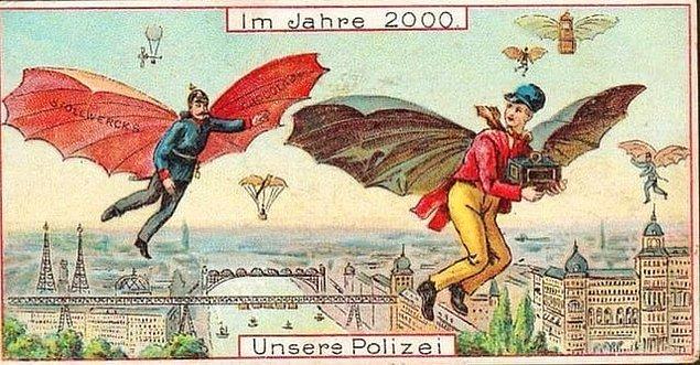 12. Almanya'da 1898 yılında çizilen ve 2000 yılına gelindiğinde polislerin nasıl çalışacağını anlatan bir görsel: