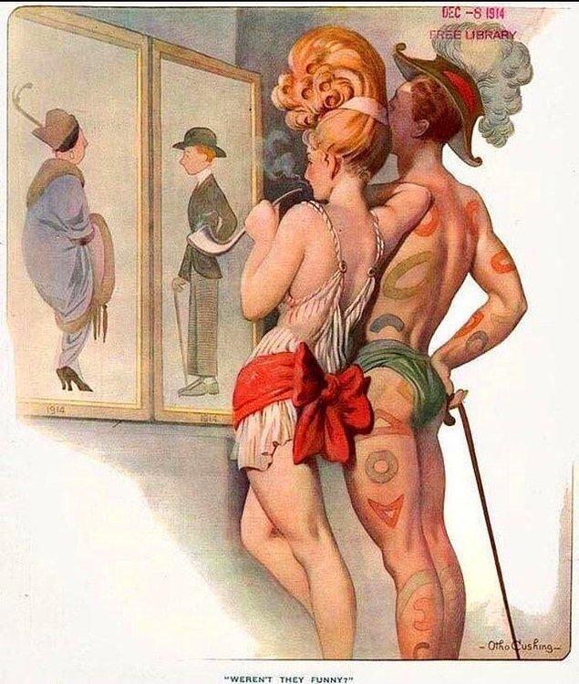 15. 1914 yılına ait bir dergide gelecekteki insanların nasıl giyineceğine dair yapılan bir çizim: