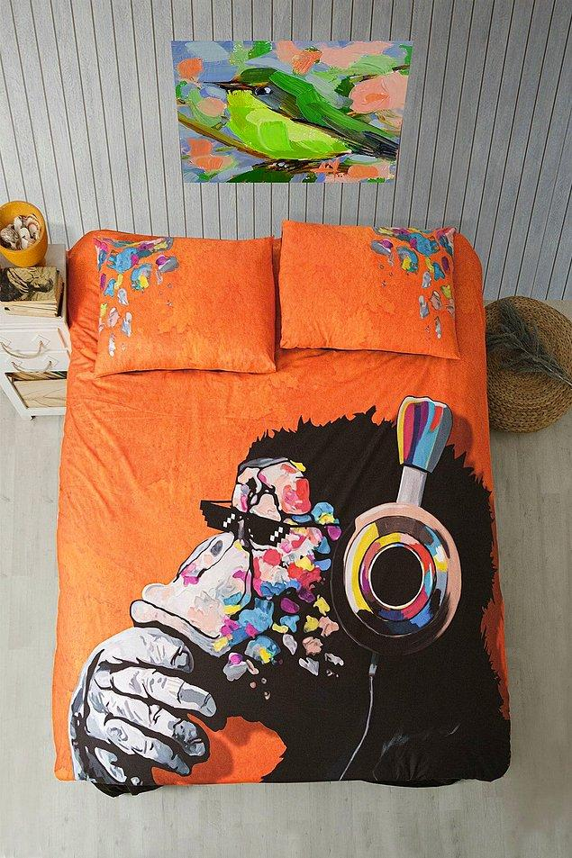10. Renkli kişiliğini yatağına yansıtabileceğin aşşırı güzel maymunlu nevresim takımı.