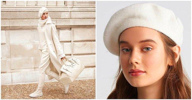 Sonbahar kombinlerinizi göz alıcı kılmak için beyaz ressam şapkası kullanmayı deneyebilirsiniz.