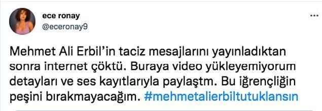 Ve daha sonra Twitter'dan Mehmet Ali Erbil'e ait olduğunu iddia ettiği yazışmaları da paylaştı.