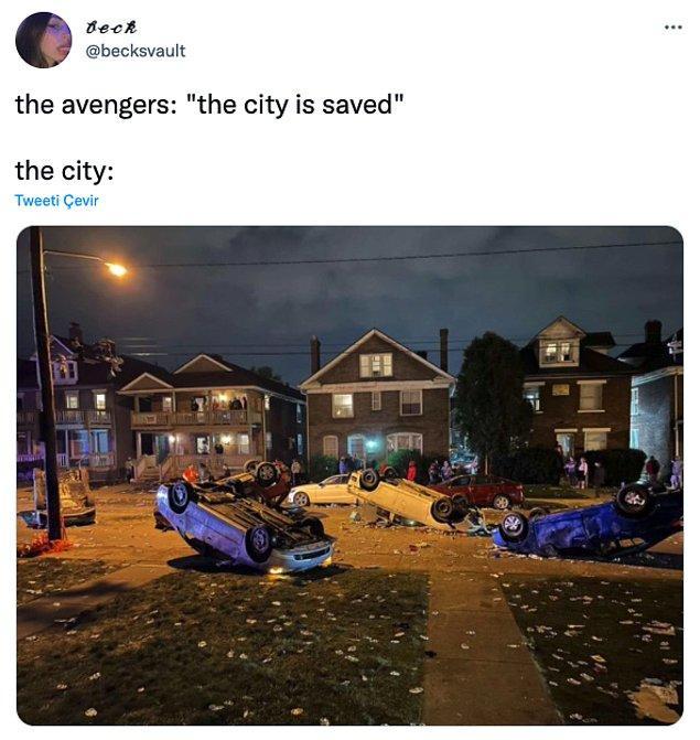 "13. ""Avengers: 'Şehir kurtarıldı'     /       Şehir: """