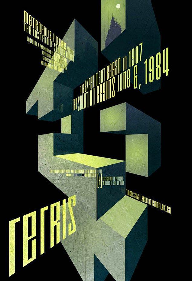 8. Tetris için yapılan bu film afişi tasarımı bizleri Stalker ve The Cube arası bir ruh halinde bıraktı.