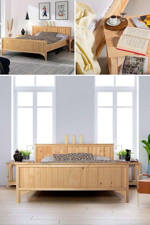 10. Doğal masif ahşap başlıklı komodinli karyola bohem tarzıyla şık bir mobilya.