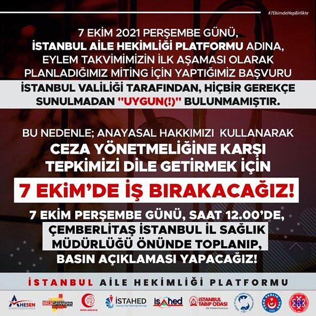 """Faka aşı karşıtlarının 11 Eylül'de Maltepe'de miting yapmasına izin veren İstanbul Valiliği, İstanbul Aile Hekimleri Platformu'nun izin talebini """"Valiliğimizce uygun görülmemiştir"""" diyerek reddetti."""