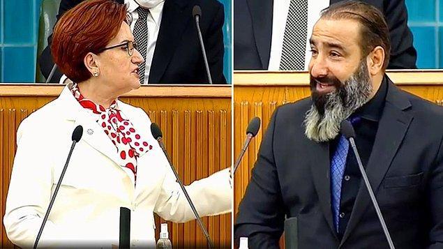 """Bugün Meclis'teki parti gurup toplantısında konuşan İYİ Parti lideri Meral Akşener'in gündeminde de kebapçı polemiği vardı. Akşener, """"Dün itibariyle de kebapçılar terörist oldu. İşte o nedenle bu hafta Milletin Kürsüsü'nde hem kebapçı, hem de aspavacı bir kardeşimizi misafir ediyoruz. İbrahim Çetinkaya aramızda. Bu vesileyle, tüm kebapçı kardeşlerimize, aramıza hoş geldiniz demek istiyorum. Buyurun İbrahim Bey, söz de kürsü de senindir."""" dedi."""