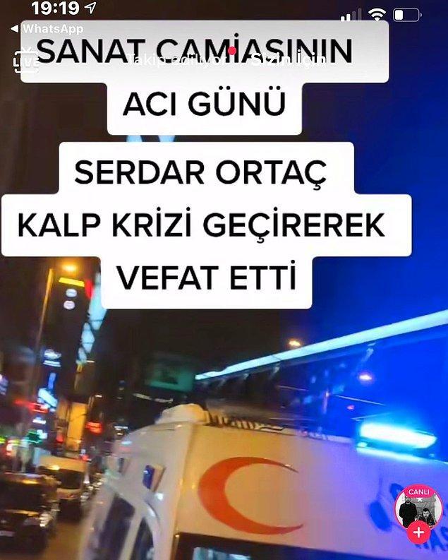 Sosyal medya hesabında canlı yayın yapan bir kullanıcı, bir ambulans paylaşarak Serdar Ortaç'ın geçirdiği kalp krizi sonucunda vefat ettiğini söyledi.