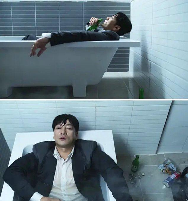 Sang-woo, 2. bölümde eve döndüğünde bir küvette sırılsıklam oturuyor ve sonrasında intihar girişiminde bulunuyor. Bu da son bölümdeki ölümünün önceden sinyallerinin verildiği bir sahne.
