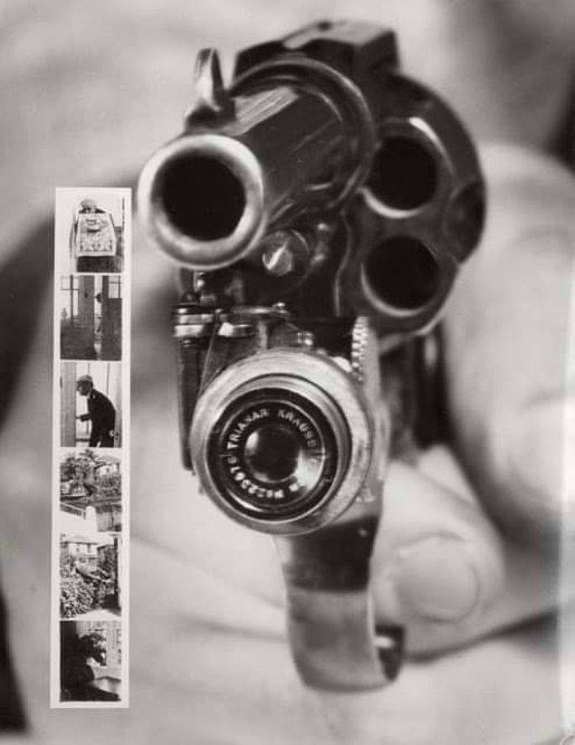 12. 1938 üretimi Colt 38 tetiğe bastığınızda bir kurşun yollarken o anın fotoğrafını da çekiyormuş.
