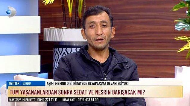"""Sedat Akbalık'ın """"Beni yeğenimle aldattı"""" dediği eşi Nesrin, önceki gün stüdyoya geldi."""
