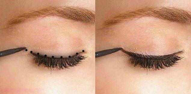 6. Eyelinerı kapkalın ve kaşınıza kadar uzatmamak için dipliner kullanın.