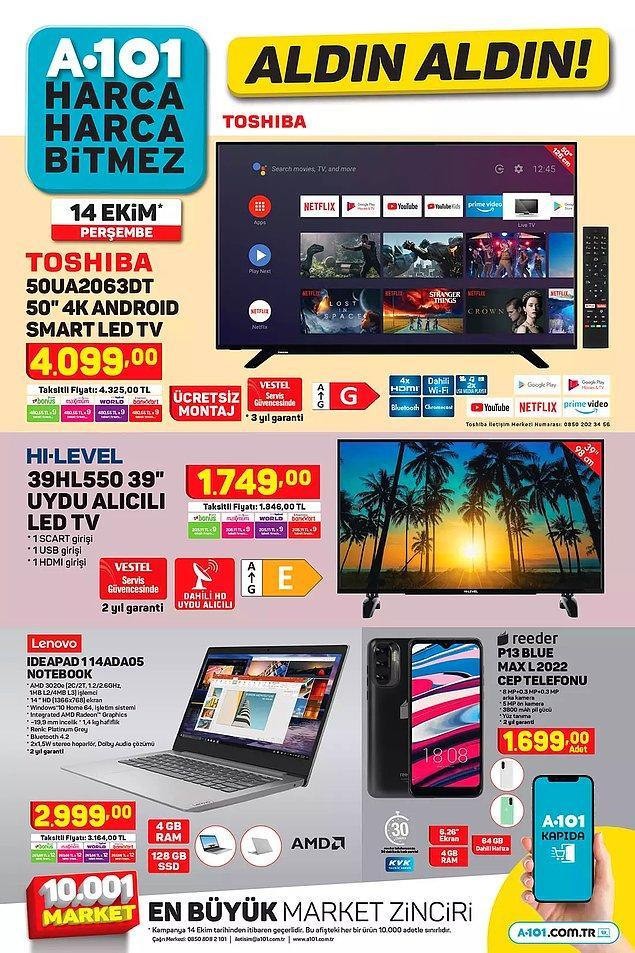 A101'de bu hafta Toshıba 50″  4K Android Smart Led TV 4,099 TL.