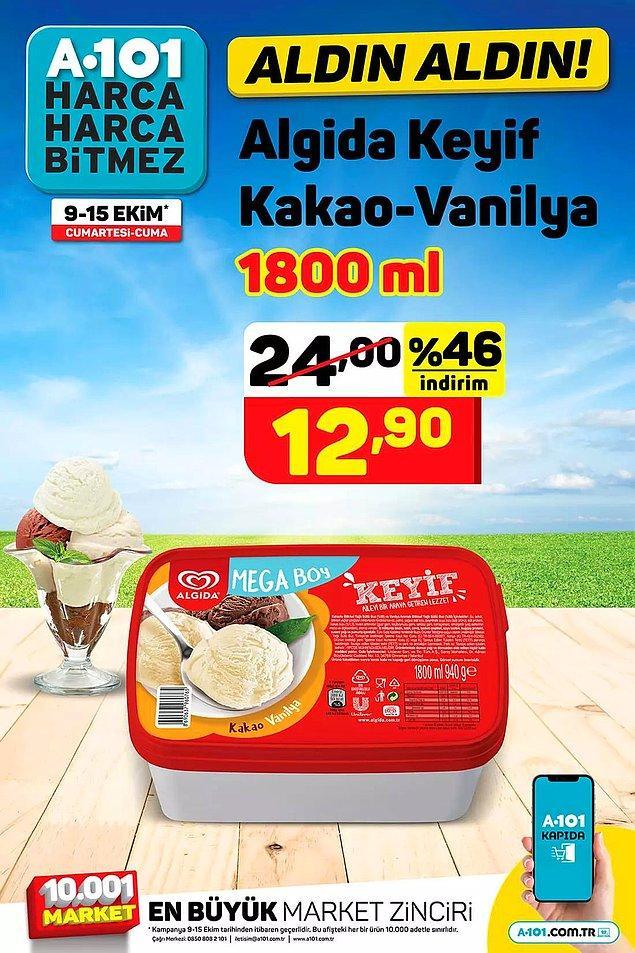 Algida Keyif Kakao-Vanilya 12,90 TL.