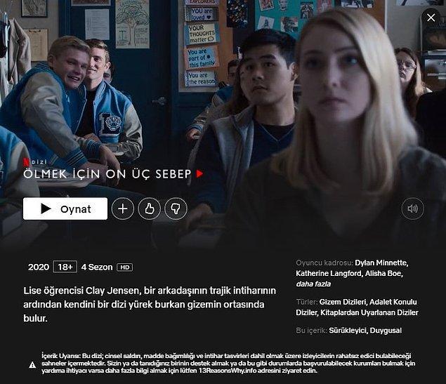 Gelen tepkiler sonucunda 1. sezona dair pek çok tartışmalı sahneyi kesen Netflix, dizinin tanıtım ekranına bir uyarı metni dahi koydu.