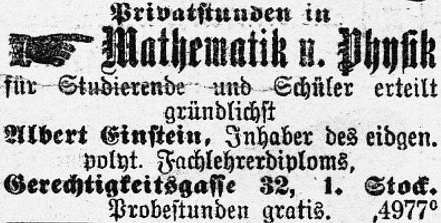 22 yaşındaki genç Einstein geçimini sağlamak için patent enstitüsünde çalışmak için başvurur. Ancak enstitü kendisini gereğinden fazla bekletince genç fizikçi gazeteye bir ilan verir: