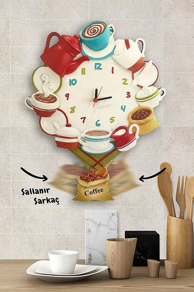 7. Mutfakların havasını değiştirecek dekoratif bir duvar saati.