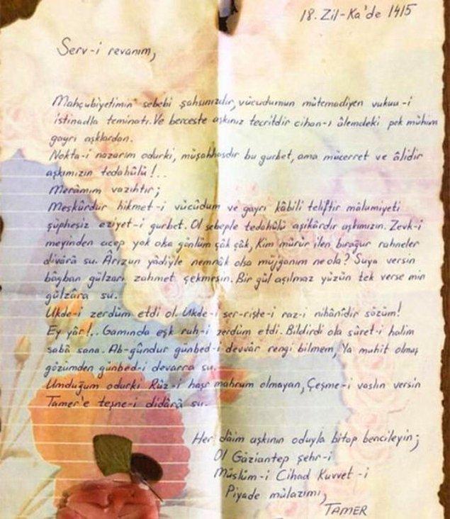 Aslında biz onları bu kadar yakından tanımadan onların birliktelikleri başlamıştı. Öyle ki, Tamer Karadağlı askerdeyken sevgilisi Arzu Balkan'a Osmanlıca şöyle bir mektup yazmıştı.