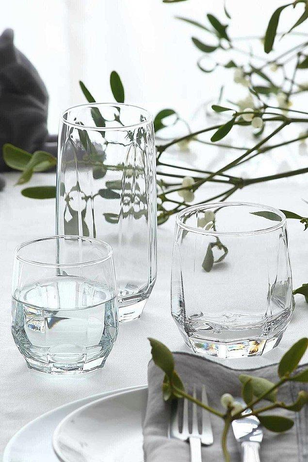 11. Lav Diamond serisi 18 parça meşrubat bardağı seti ile davetlerinizin baş tacı olacak!