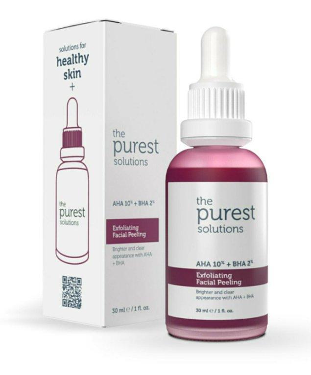 12. The Purest Solutions canlandırıcı ve cilt tonu eşitleyici yüz peeling serumu denemeye değer...