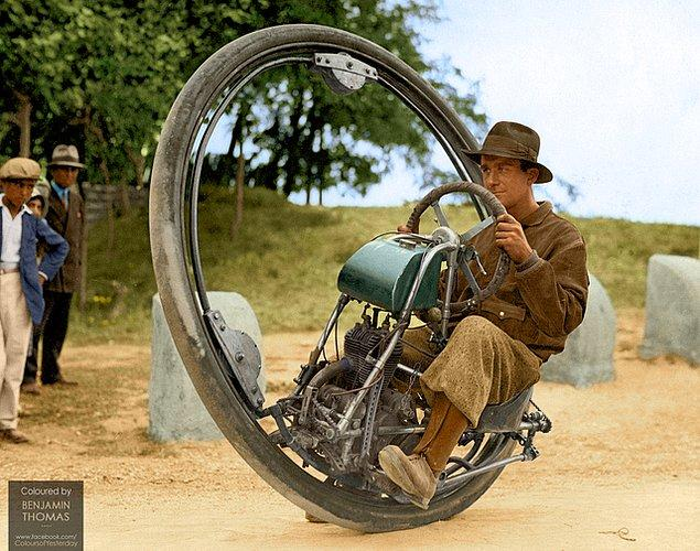 3. Saatte 150 kilometre hız yapabilen, İtalyan M. Goventosa de Udine'nin 1931 yılında ürettiği tek tekerli motosiklet: