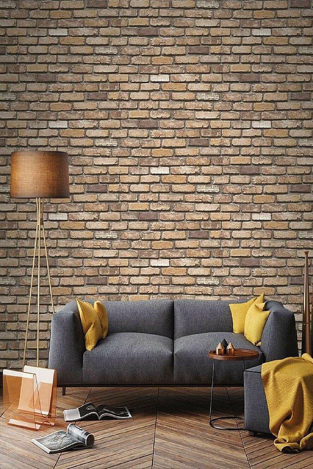 4. Taş tuğla desenli duvar kağıdı 2021'in en moda duvar kağıtlarından...