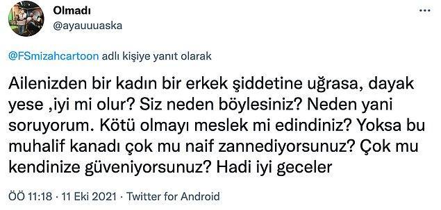 Tabii karikatürde İstanbul Sözleşmesi sözünü tamamlamaya izin vermeden gelen tokat da zihniyeti gösterir gibi.