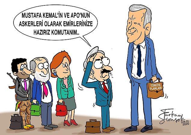 AKP teşkilatlarıyla yoğun ilişkiler içinde olan Şimşek'in bazı çizimleri ise şöyle;