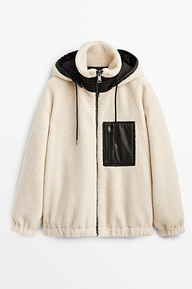 14. Çok üşüyen ve pofuduk pofuduk giyinmeyi sevenler için Massimo Dutti'den polar ceket...