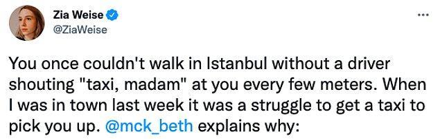 """3. """"İstanbul'da, her beş metrede bir, şoför size 'taksi, madam' diye bağırmadan yürüyemiyorsunuz. Geçen hafta oradayken, kendimi alabilecek bir taksi bulmakta zorlandım."""""""