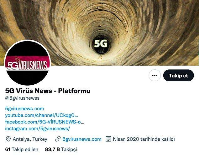 11. Bu hesap da bir platform: 5G Virüs News
