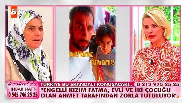 Melahat Oruç, %45 engelli raporu bulunan kızı Fatma için Esra Erol'un kapısını çaldı. Oruç, kızının Temmuz ayında evli ve 2 çocuk babası olan Ahmet isimli birine kaçtığını ve kaçtıktan sonra da bu adamla resmi nikah kıydıklarını iddia etti.