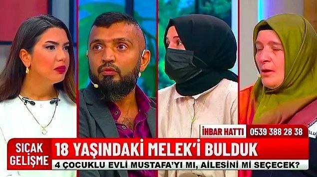 """Fox TV'de yayınlanan Fulya Öztürk'ün sunduğu """"Fulya ile Umudun Olsun"""" programına Şahinoğlu çifti 18 yaşındaki kızları Melek'i bulmak için geçtiğimiz günlerde katıldı. Melek'in 4 çocuk babası ve 2 eşi olan Mustafa'yla birlikte olduğu ortaya çıktı."""