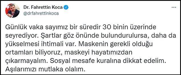 Sağlık Bakanı Koca'nın uyarısı 👇