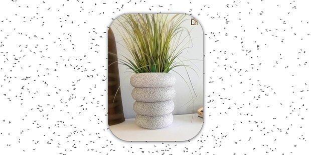 Bu Granit Desenli Saksı İle Çiçekleriniz Çok Daha Güzel Gözükecek