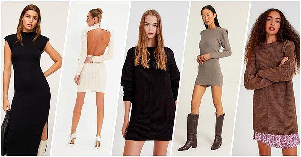 Sonbahar İçin Rahat, Rahat Olduğu Kadar Şık Duran Örgü Elbiseler