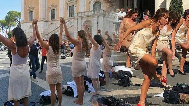 Hostesler Meydanda Soyundu! Düşük Ücrete İsyan Etti...