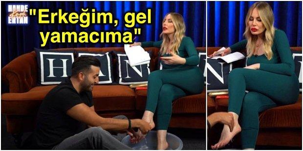 Hande Sarıoğlu'nun Partneri Ertan Süzgün'e Ayaklarını Yıkatırken Yaşanan Samimi Anlar Olay Oldu